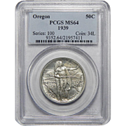 1939 Pcgs MS64 Oregon Half Dollar