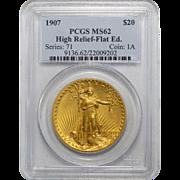 1907 Pcgs MS62 $20 High Relief-Flat Edge St Gaudens