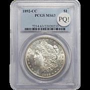 1892-CC Pcgs MS63 PQ! Morgan Dollar