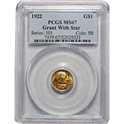 1922 Pcgs MS67 Grant, With Star Gold Dollar