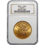 1894-S Ngc MS63 $20 Liberty Head Gold