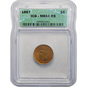 1867 Icg MS64RB Indian Head Cent