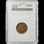 1909-S Anacs VF20BN Indian Head Cent