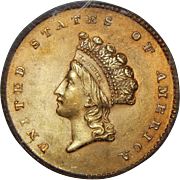 1854 Pcgs MS64 Type-2 $1 Gold