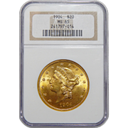 1904 Ngc MS65 $20 Liberty Head Gold