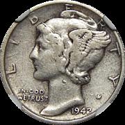 1942/1 Ngc VF30 Mercury Dime