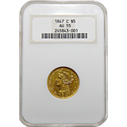 1847-C Ngc AU55 $5 Liberty Head Gold
