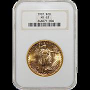 1907 Ngc MS63 $20 Saint Gauden