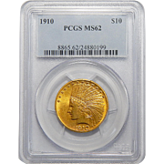 1910 Pcgs MS62 $10 Indian Gold