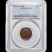 1909-S VDB Pcgs XF40BN Lincoln Wheat Cent