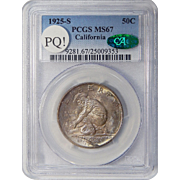 1925-S Pcgs/Cac MS67 PQ! California Half Dollar Commemorative