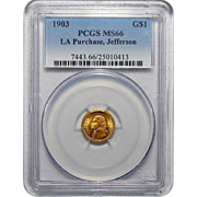 1903 Pcgs MS66 $1 Louisiana Purchase, Jefferson Gold