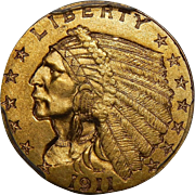 1911-D Pcgs MS64 $2.50 Strong D Indian Gold