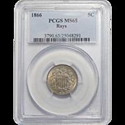 1866 Pcgs MS65 Shield Nickel w/ Rays