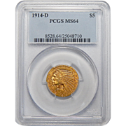 1914-D Pcgs MS64 $5 Indian Gold