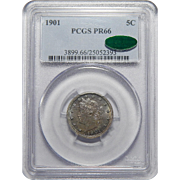 "1901 Pcgs/Cac PR66 Liberty ""V"" Nickel"