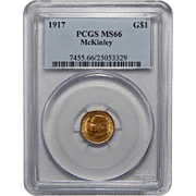 1917 Pcgs MS66 $1 McKinley Gold