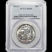 1923-S Pcgs MS65 Walking Liberty Half Dollar