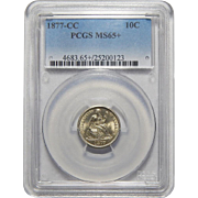 1877-CC Pcgs MS65+ Liberty Seated Dime