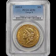 "1855-S Pcgs AU53 $20 Large ""S"" Liberty Head Gold"
