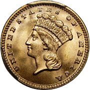 1889 Pcgs MS67 $1 Gold