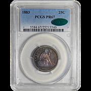 1883 Pcgs/Cac PR67 Liberty Seated Quarter