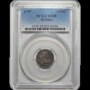 1797 Pcgs XF45 16 Stars Draped Bust Half Dime