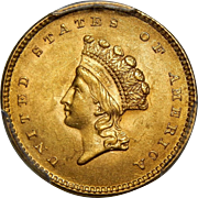 1854 Pcgs MS63 Type-2 $1 Gold