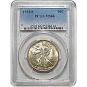 1935-S Pcgs MS66 Walking Liberty Half Dollar