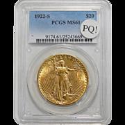 1922-S Pcgs MS61 PQ! $20 St Gauden