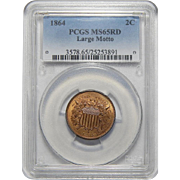1864 Pcgs MS65RD Large Motto Two-Cent