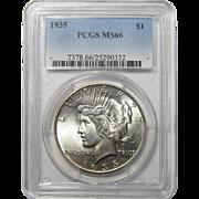 1935 Pcgs MS66 Peace Dollar