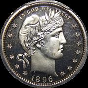 1896 Pcgs PR65CAM Barber Quarter