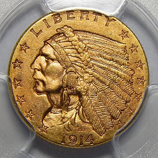 1914 Pcgs MS65 $2.50 Indian Gold