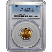 1926 Pcgs MS66 $2.50 Sesquicentennial Gold