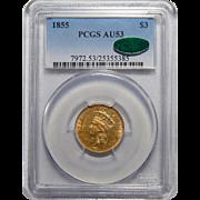 1855 Pcgs/Cac AU53 $3 Gold