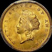 1855 Pcgs MS64 $1 Gold