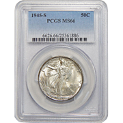 1945-S Pcgs MS66 Walking Liberty Half Dollar