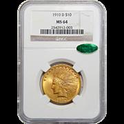 1910-D Ngc/Cac MS64 $10 Indian Gold