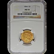 1854 Ngc AU55 $3 Gold