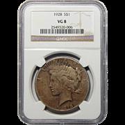 1928 Ngc VG8 Peace Dollar