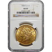 1884-CC Ngc  AU53 $20 Liberty Head Gold