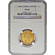 1842-D Ngc XF40 Small Date $5 Liberty Head Gold