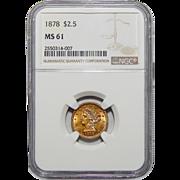 1878 Ngc MS61 $2.50 Liberty Head Gold