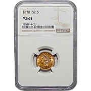 1878 Ngc MS61 $2.50 Liberty Head Gold