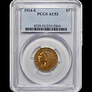 1914-S Pcgs AU53 $5 Indian Gold