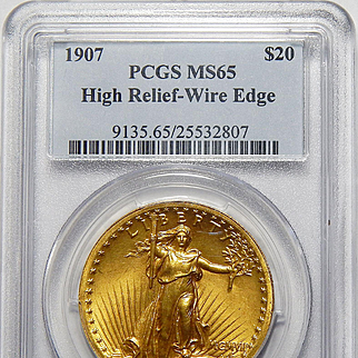1907 Pcgs MS65 $20 High Relief-Wire Edge St. Gaudens
