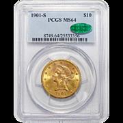 1901-S Pcgs/Cac MS64 $10 Liberty Head Gold