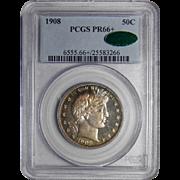 1908 Pcgs/Cac PR66+ Barber Half Dollar