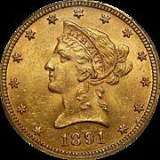 1891 Pcgs MS63 $10 Liberty Head Gold